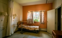 Patient room in a recently abandoned nursing home