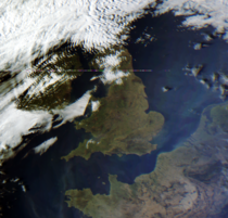 Plankton blooms on the South East coast of the UK as seen from space Received by me with my own DIY equipment from the Chinese FY-B weather satellite -  -  UTC