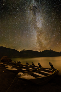 Redoubt Lodge Lake Clark National Park AK Milky Way over the lake