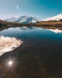 Reflection of sun and the mountains during my trek to Kuari Pass Uttarakhand India