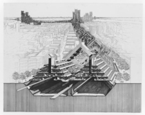 rendering of lower Manhattan expressway by Paul Rudolph