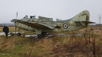 Royal Navy Fairey Gannet abandoned in a Scottish field