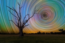 -second exposures of star trails make for a dizzying sky by Lincoln Harrison