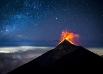 second night exposer of the stars and eruption of Volcn de Fuego in Guatemala