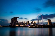 Singapores iconic skyline during blue hour