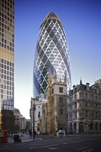 St Mary Axe with St Andrew Undershaft church in the foreground pictured from Leadenhall Street London