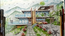 Storey with Roof Deck on Hills  point perspective  watercolor rendering