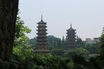 Sun and moon tower Guilin China