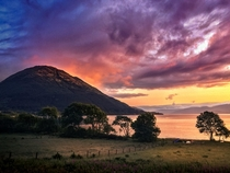 Sunset across Loch Leven in the Scottish Highlands x