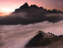 Tengboche Monastery in the clouds Nepal
