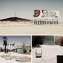 The abandoned Lake Dolores Waterpark in the Mojave Desert between Los Angeles and Las Vegas