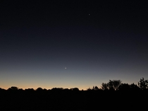 The moon and Venus above the desert horizon  miles outside Grand Canyon NP about  minutes before sunrise