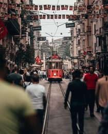 The nostalgic tram in Istanbul One of the  left as a tourist attraction