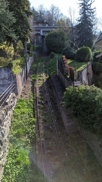 The remaining infrastructure of the Territet - Mont-Fleuri funicular Switzerland