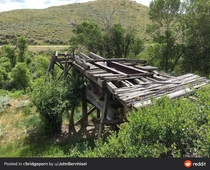 The remains of a railroad bridge over the Bear Creek This railroad spur went to the Washoe Montana coal mines and the  people who lived in Washoe Today the town is a ghost town