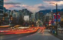 The tail end of rush hour at the CambieBroadway intersection in Vancouver Canada March