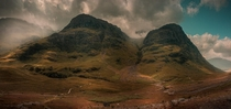 Two of the Three Sisters in Glencoe in the Scottish Highlands x