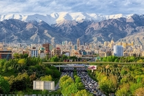 view of Tehran from The Nature Bridge Pol-e-Tabiat Iran