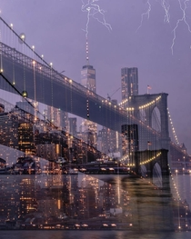 We walked across the Brooklyn bridge There were forecasts of thunderstorm but it all looked too calm As we reached the other side it started drizzling I could observe lightning strikes far away approaching us Got lucky minutes later Slow shutter sweep fo