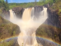 x High falls on Pigeon River with double rainbow My kid said it looks like a ghost
