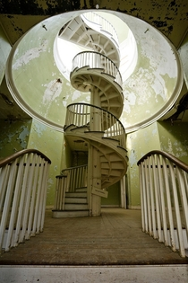 year old spiral staircase in Virginia insane asylum that was birthplace of American eugenics movement