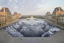 years of the Louvre Pyramid JR unveils a spectacular trompe-loeil A giant collage covering the entire Napoleon courtyard