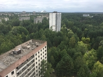 Youre actually not supposed to go up here in Chernobyl I did it anyway