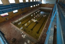 A abandoned Detroit swimming pool  Water still included