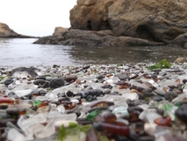 A Beach in Mendocino California That used to be used as a Trash Dump The only thing left is the broken weathered glass