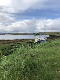 A beached fishing boat on the Isle of Lewis