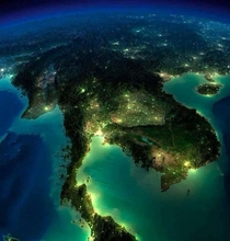 A beautiful birds eye view of Thailand at night x