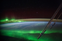 A beautiful clear shot of the Aurora Borealis near Australia from the ISS Image credit NASA