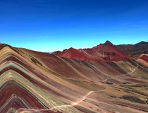 A beautiful day at ft on Rainbow Mountain Peru Vinicunca