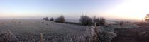 A beautiful misty and frosty morning in England Panorama