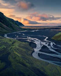 A beautiful river valley at sunrise Iceland  IG holysht
