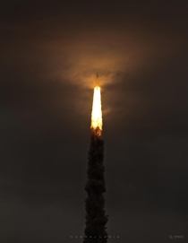 A beautiful shotmy personal favourite of Indias GSLV-Mark III-M rocket a few minutes after its launch from the Satish Dhawan Space Centre on  July  The launch was for Indias second unmanned mission to the moon Chandrayaan-