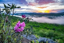 A beautiful spring sunset from the Blue Ridge Parkway NC USA