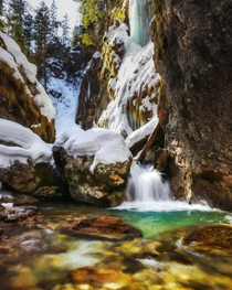 A beautiful stream at the end of winter in Gozd Martuljek Slovenia