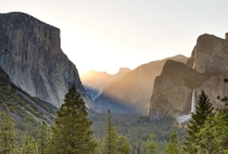 A beautiful summer sunrise at Tunnel View in Yosemite National Park CA USA