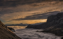 A beautiful sunrise above the clouds Axalp valley in the Swiss Alps  photo by Tim Allen x-post rSchweiz