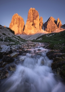 A beautiful sunset at one of the most iconic places of the Dolomites the Tre Cime Dolomites Italy
