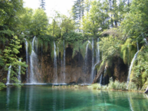 A beautiful waterfall in the Plitvice lakes Croatia