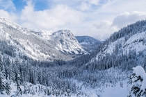 A beautiful winter wonderland on the way to Snow Lake in Snoqualmie Pass WA