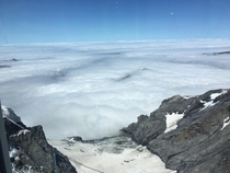 A bed of clouds seen from the Sphinx Observatory jungfraujoch
