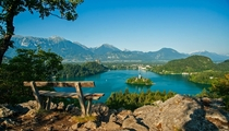 A bench with the most spectacular view of Lake Bled Slovenia