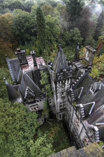 A birds eye view of an abandoned castle  Photographed by Bousure
