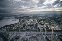 A birds eye view of the abandoned city of Pripyat Ukraine