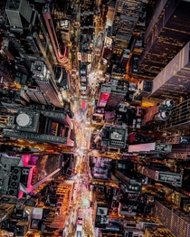 A birds eye view of Times Square NYC  by aivisuals