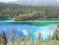 A bit blurry but snapped this photo of Emerald Lake Yukon over the summer