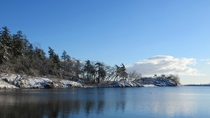 A Blue Pipers Lagoon in the snow Nanaimo BC